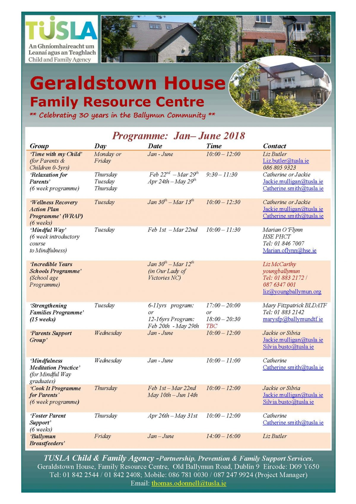 Geraldstown House, Family Resource Centre Programmes 2018